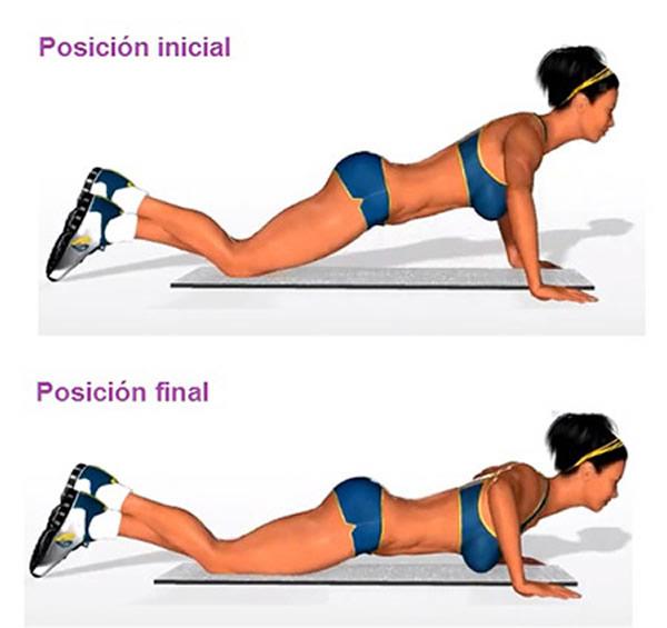 Los push up son uno de los ejercicios más completos para quemar grasa en brazos, espalda y abdomen.