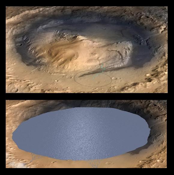 Simulación del cráter Gale en el pasado de Marte. Crédito: NASA