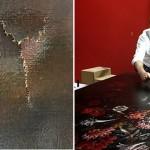 Personal del museo y el restaurador Tsai Shun revisan el daño a la pintura. Foto: TST Art of Discovery Co