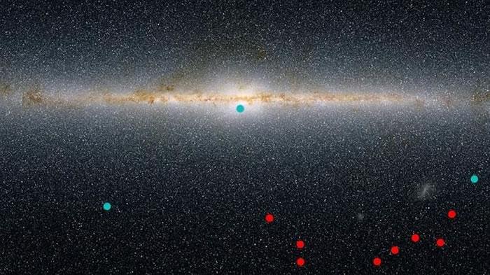 En rojo, posición de las nuevas minigalaxias respecto al disco de la Vía Láctea. En azul, otras descubiertas antes / KIPAC/SLAC