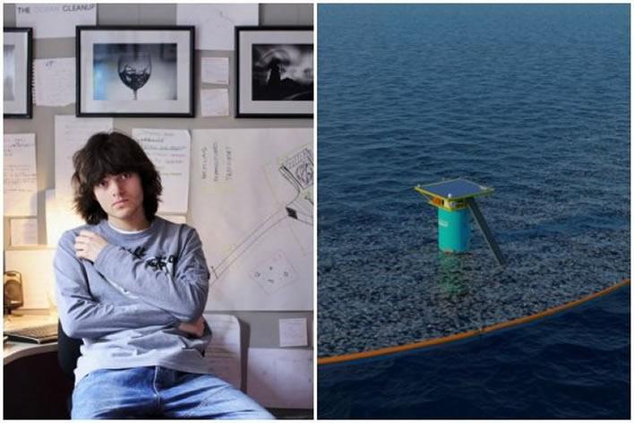 Boyan Slat. Su propuesta incluye instalar barreras flotantes que atrapen el plástico atraído por las corrientes marinas. / Ocean Cleanup. Créditos: El Espectador