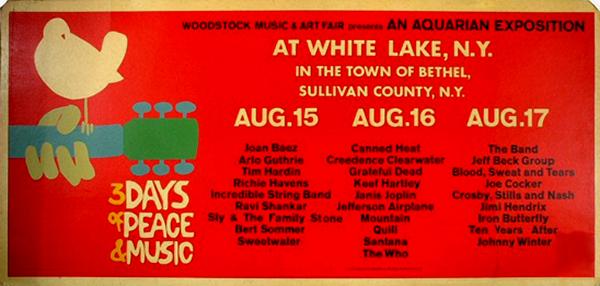 Poster del primer festival Woodstock. Créditos: agroweed.com