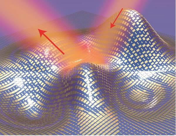 """Ilustración de la """"capa"""" formada de nanoantenas cubriendo un objeto. Créditos: iang Zhang group, Berkeley Lab/UC Berkeley"""
