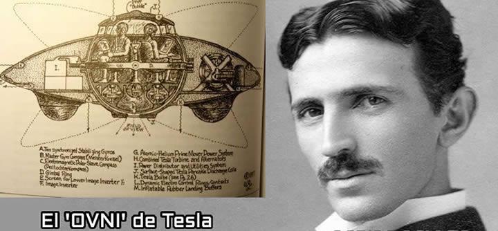 """Nikola Tesla y su invención llamada: """"El primer platillo volador del mundo"""". Créditos:Códigooculto.com"""